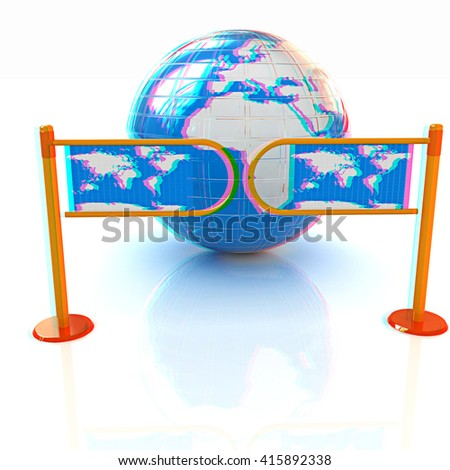 Three-dimensional image of the turnstile and earth. 3D illustration. Anaglyph. View with red/cyan glasses to see in 3D. - stock photo