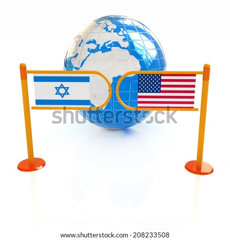 Three-dimensional image of the turnstile and flags of America and Israel on a white background  - stock photo