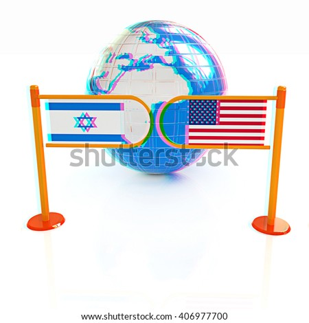 Three-dimensional image of the turnstile and flags of America and Israel on a white background . 3D illustration. Anaglyph. View with red/cyan glasses to see in 3D. - stock photo