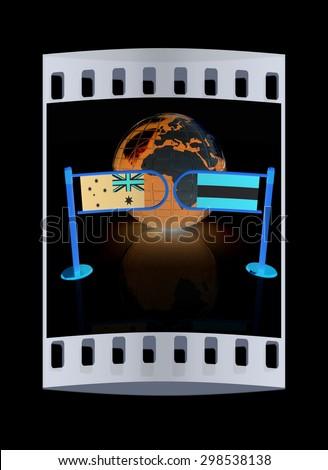 Three-dimensional image of the turnstile and flags of Australia and Austria on a black background. The film strip - stock photo