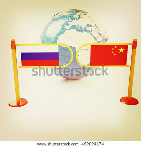 Three-dimensional image of the turnstile and flags of China and Russia on a white background . 3D illustration. Vintage style. - stock photo