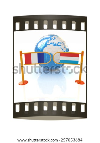 Three-dimensional image of the turnstile and flags of France and Luxembourg on a white background. The film strip - stock photo