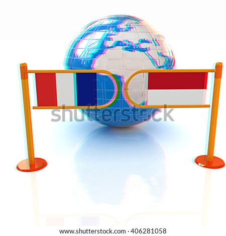 Three-dimensional image of the turnstile and flags of France and Monaco on a white background . 3D illustration. Anaglyph. View with red/cyan glasses to see in 3D. - stock photo