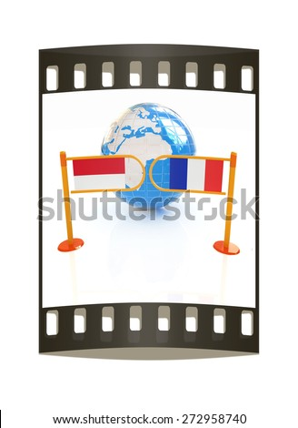 Three-dimensional image of the turnstile and flags of France and Monaco on a white background. The film strip - stock photo