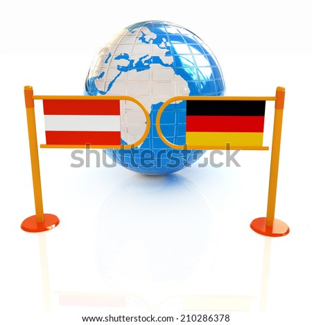 Three-dimensional image of the turnstile and flags of Germany and Austria on a white background  - stock photo