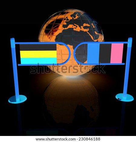 Three-dimensional image of the turnstile and flags of Ireland and Russia on a black background  - stock photo