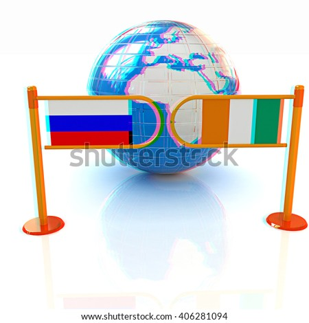 Three-dimensional image of the turnstile and flags of Ireland and Russia on a white background . 3D illustration. Anaglyph. View with red/cyan glasses to see in 3D. - stock photo