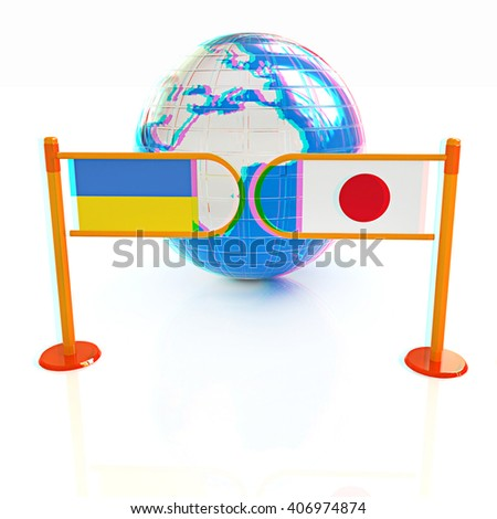Three-dimensional image of the turnstile and flags of Japan and Ukraine on a white background . 3D illustration. Anaglyph. View with red/cyan glasses to see in 3D. - stock photo