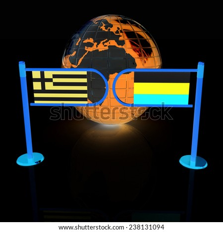 Three-dimensional image of the turnstile and flags of Russia and Greece on a black background  - stock photo