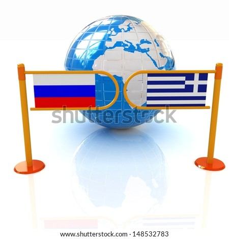 Three-dimensional image of the turnstile and flags of Russia and Greece on a white background