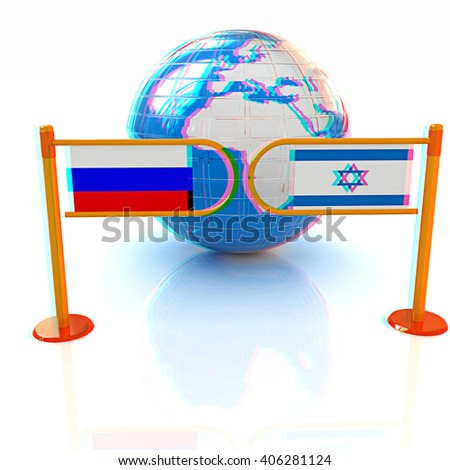 Three-dimensional image of the turnstile and flags of Russia and Israel on a white background . 3D illustration. Anaglyph. View with red/cyan glasses to see in 3D. - stock photo