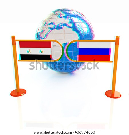 Three-dimensional image of the turnstile and flags of Russia and Syria on a white background . 3D illustration. Anaglyph. View with red/cyan glasses to see in 3D. - stock photo
