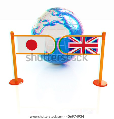 Three-dimensional image of the turnstile and flags of UK and Japan on a white background . 3D illustration. Anaglyph. View with red/cyan glasses to see in 3D. - stock photo