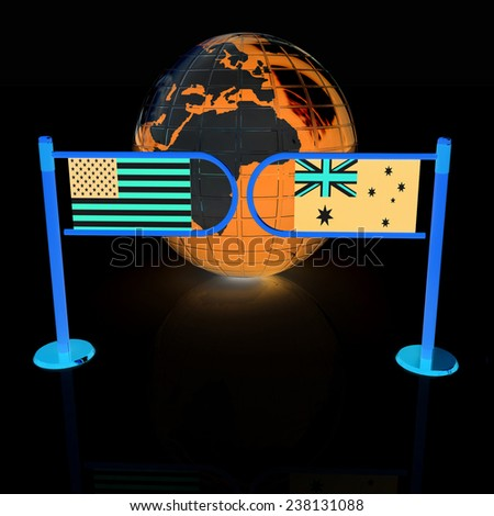 Three-dimensional image of the turnstile and flags of USA and Australia on a black background  - stock photo