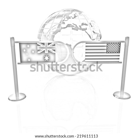 Three-dimensional image of the turnstile and flags of USA and Australia on a white background. Pencil drawing