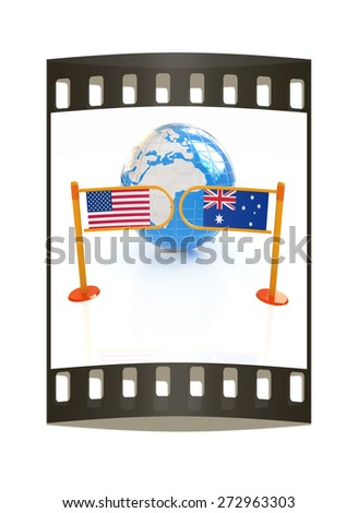 Three-dimensional image of the turnstile and flags of USA and Australia on a white background. The film strip