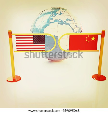 Three-dimensional image of the turnstile and flags of USA and China on a white background . 3D illustration. Vintage style. - stock photo