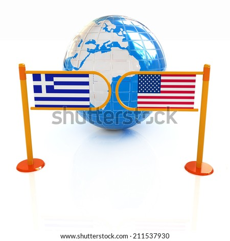Three-dimensional image of the turnstile and flags of USA and Greece on a white background  - stock photo