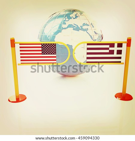 Three-dimensional image of the turnstile and flags of USA and Greece on a white background . 3D illustration. Vintage style. - stock photo