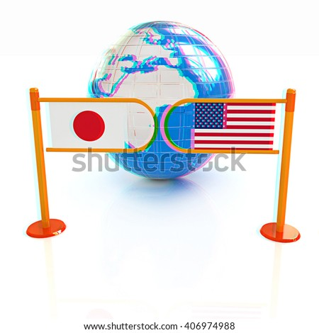 Three-dimensional image of the turnstile and flags of USA and Japan on a white background . 3D illustration. Anaglyph. View with red/cyan glasses to see in 3D. - stock photo