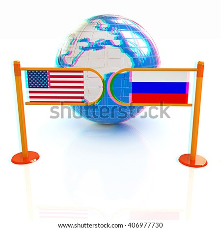Three-dimensional image of the turnstile and flags of USA and Russia on a white background . 3D illustration. Anaglyph. View with red/cyan glasses to see in 3D.