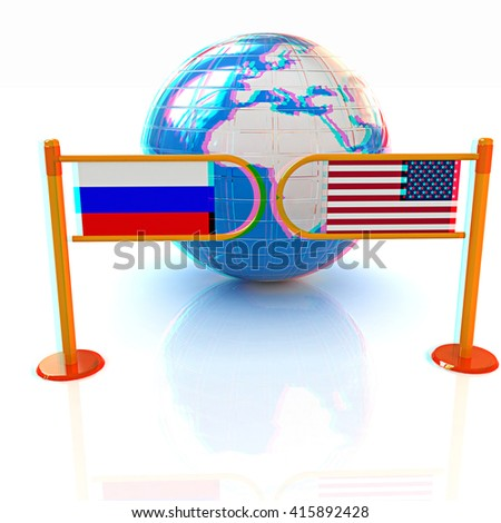 Three-dimensional image of the turnstile and flags of USA and Russia on a white background . 3D illustration. Anaglyph. View with red/cyan glasses to see in 3D. - stock photo