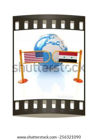 Three-dimensional image of the turnstile and flags of USA and Syria on a white background. The film strip - stock photo