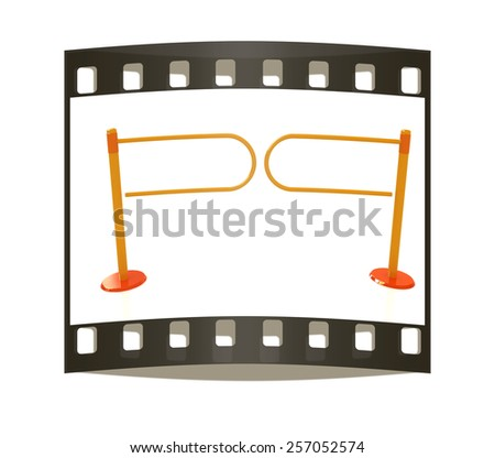 Three-dimensional image of the turnstile on a white background. The film strip