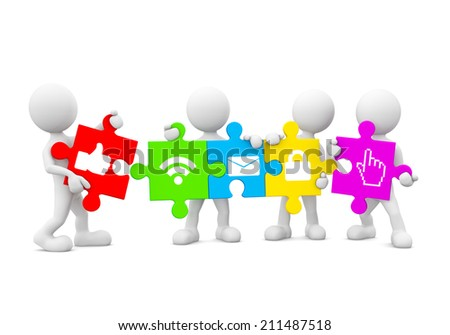 Three Dimensional Image of White Human Icons Holding Jigsaw Pieces with Social Networking Icons - stock photo