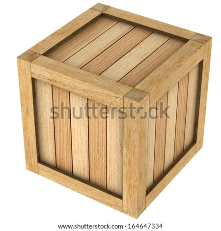 Three dimensional image of wooden box close up on a white background.