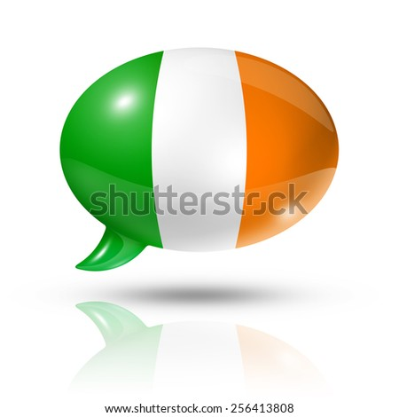 three dimensional Ireland flag in a speech bubble isolated on white with clipping path - stock photo