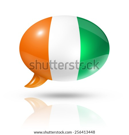 three dimensional  Ivory Coast flag in a speech bubble isolated on white with clipping path - stock photo