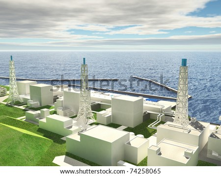 Three-dimensional layout of Fukushima nuclear plant. 3d - stock photo