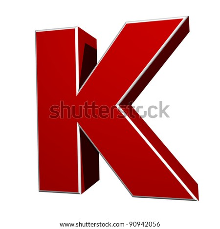 three-dimensional letter K isolated on white background