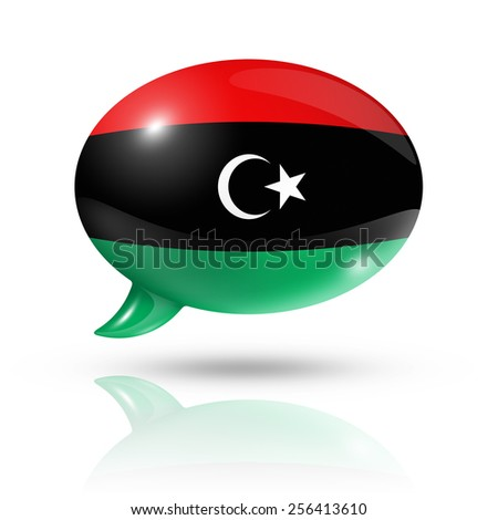 three dimensional Libya flag in a speech bubble isolated on white with clipping path - stock photo