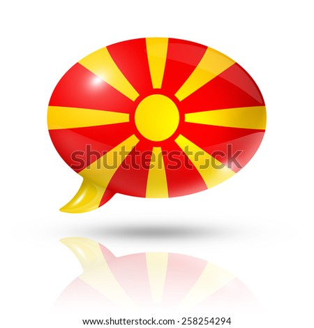 three dimensional Macedonia flag in a speech bubble isolated on white with clipping path - stock photo