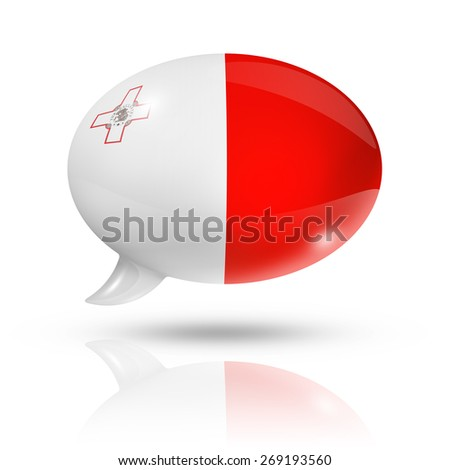 three dimensional Malta flag in a speech bubble isolated on white with clipping path - stock photo
