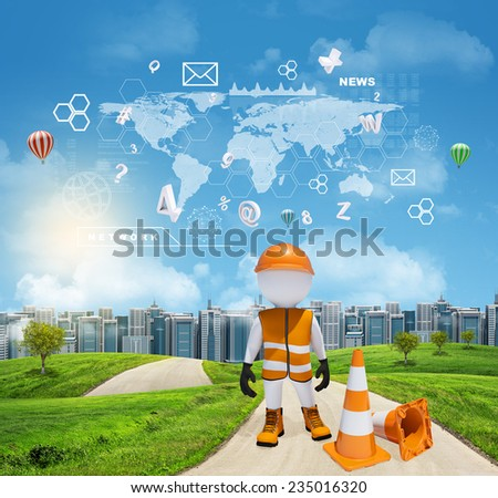 Three-dimensional man dressed as road worker standing on road running through green hills. City of tall buildings in background. World map and other virtual items in sky. Business concept. - stock photo