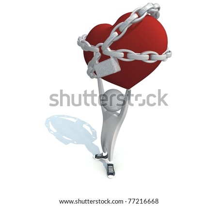 three-dimensional man holding a red heart in chains with a lock - stock photo