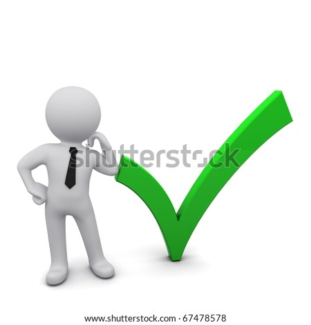 Three-dimensional man next to the green sign - stock photo