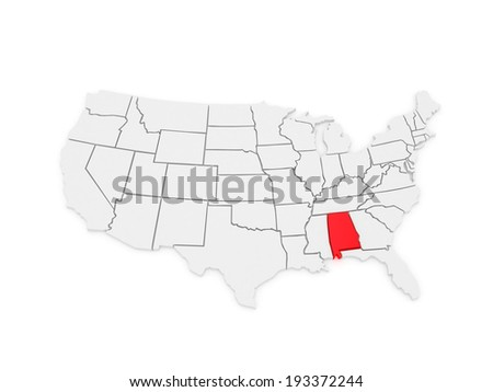 Three-dimensional map of Alabama. USA. 3d