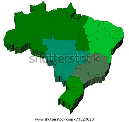 Three dimensional map of Brazil with white background - stock photo