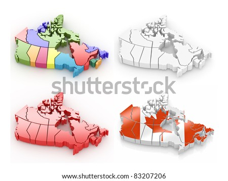 Three-dimensional map of Canada on white isolated background. 3d - stock photo