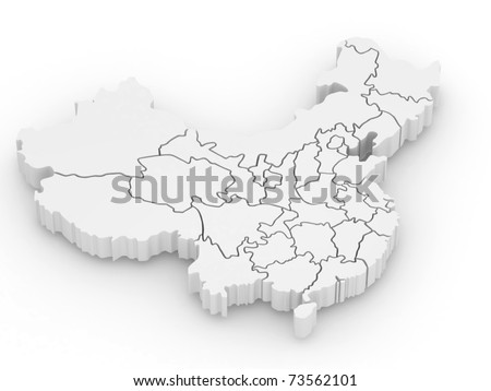 Three-dimensional map of China on white isolated background. 3d - stock photo