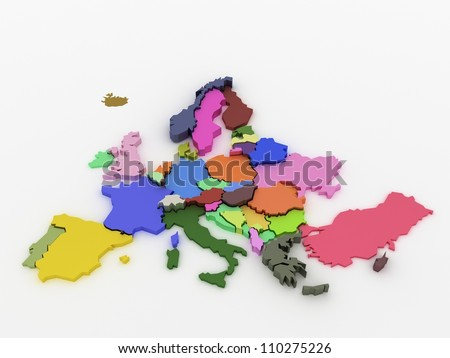 Three-dimensional map of Europe on white isolated background