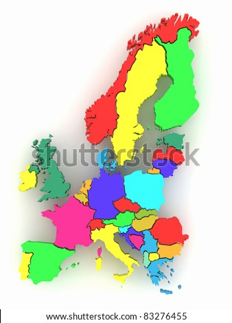 Three-dimensional map of Europe on white isolated background. 3d - stock photo