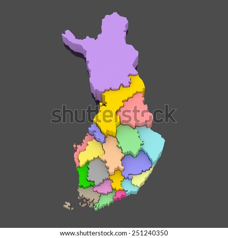 Three-dimensional map of Finland. 3d - stock photo