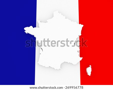 Three-dimensional map of France. 3d - stock photo