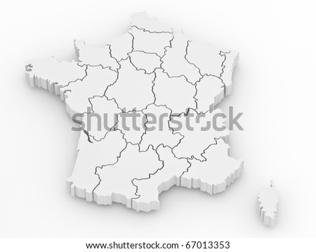 Three-dimensional map of France on white isolated background. 3d - stock photo