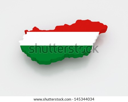 Three-dimensional map of Hungary. 3d